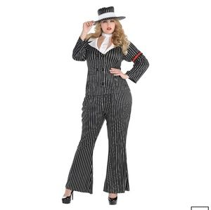 New Halloween Mob Wife Gangster Costume Plus